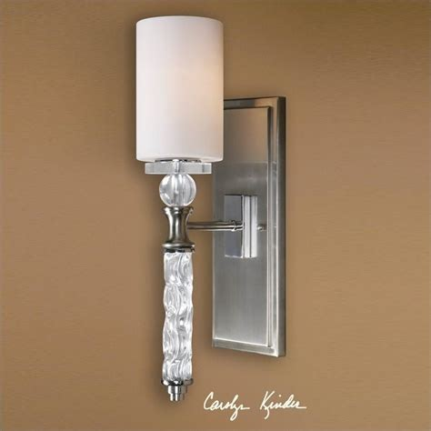 Uttermost Wall Sconces Uttermost Cania 1 Light Carved Glass Brushed Nickel