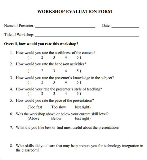 evaluation card template 15 sle evaluation forms pdf sle templates