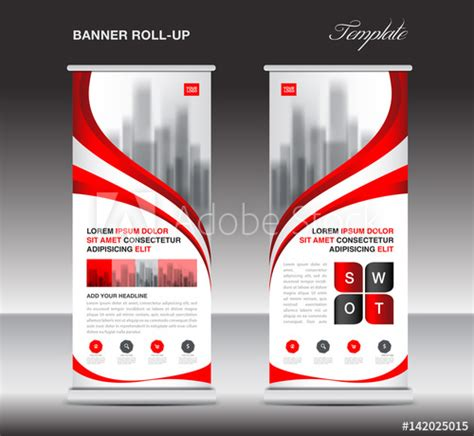 red roll up banner stand template poster display