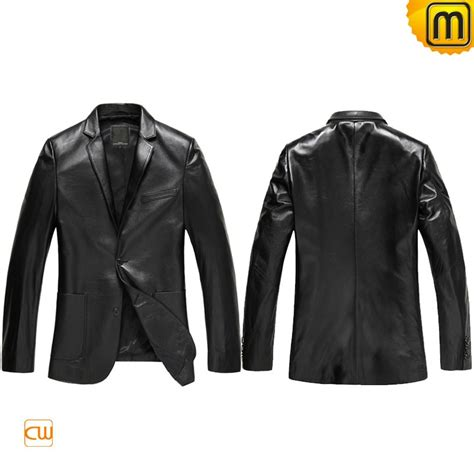 Vest Blazer Black mens black leather blazer jacket cw840801
