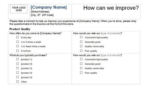 Customer Service Survey Template Word Company Survey Template
