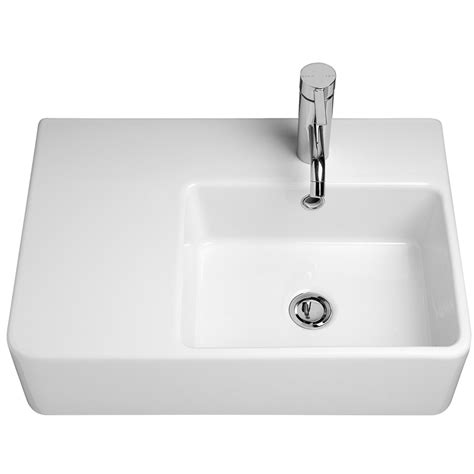 caroma white cube extension wall basin with 1 tap and