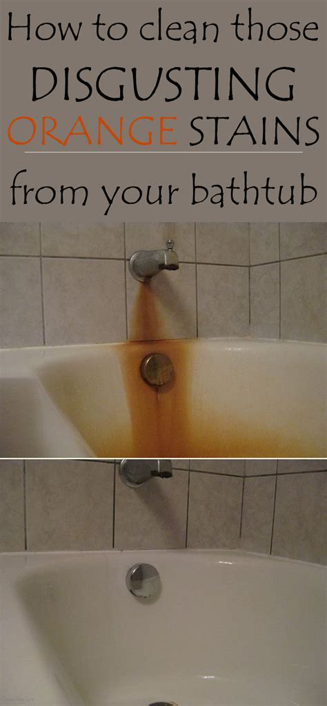 clean disgusting orange stains   bathtub