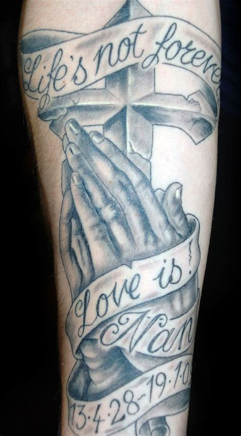 tattoo of cross on hand praying with cross design cool tattoos