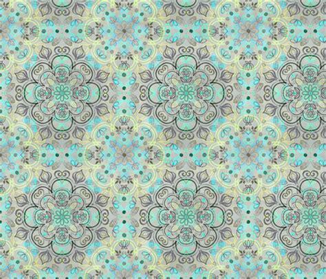 grey pattern turquoise manduca watercolor folk art in yellow turquoise mint charcoal
