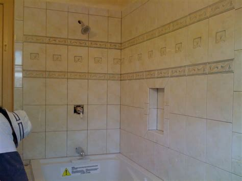 bathroom tile recessed shelving bathroom brentwood eden builders