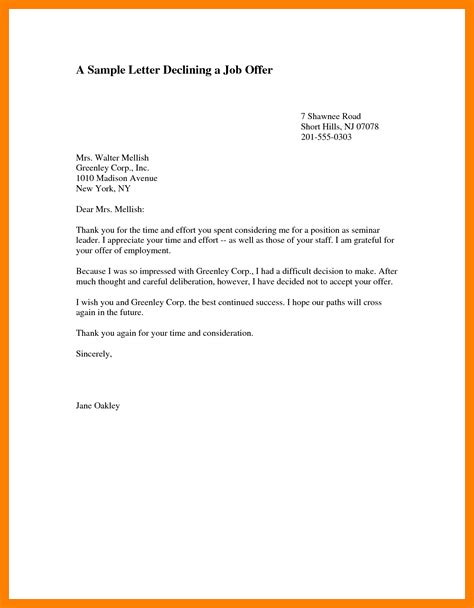 Decline Letter By Email 10 Refuse Offer Letter Resumes Great