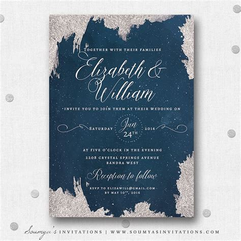 blue themed wedding invitations navy blue and silver grey wedding invitation wedding
