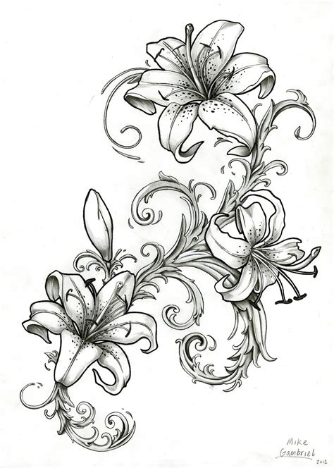 clipart star gazing lilies black and white
