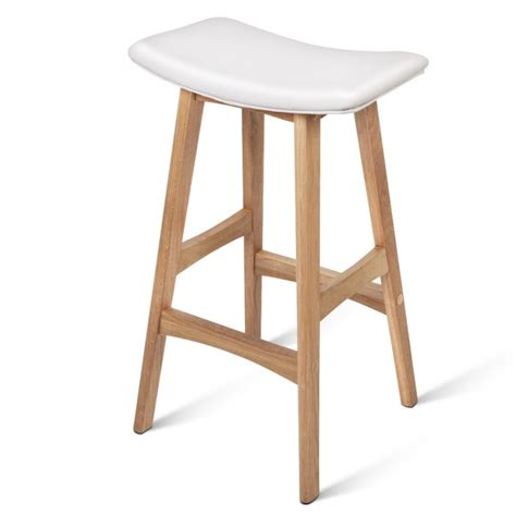 oak wood bar stools 2x white pu leather bar stools with oak wood legs buy