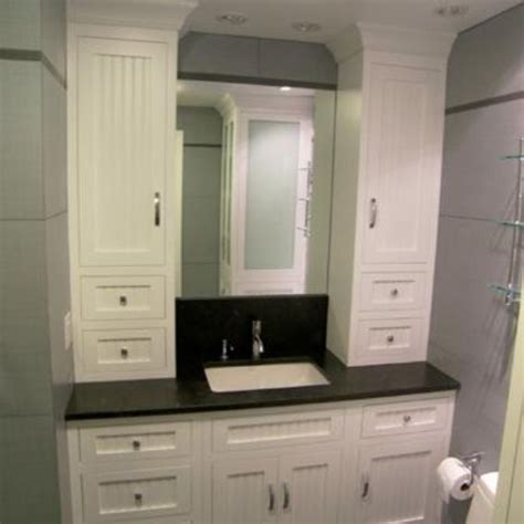 hand made bathroom vanity and linen cabinet by edko