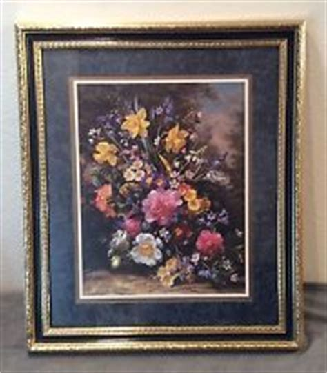 used set of 3 home interiors and gifts by artist fran di home interior bouquet flower gold tone framed art matted