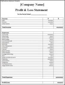 profit and loss statement template word excel formats