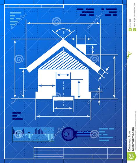 build a blueprint home symbol like blueprint drawing stock vector