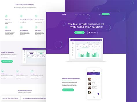free landing page template spiky salon software
