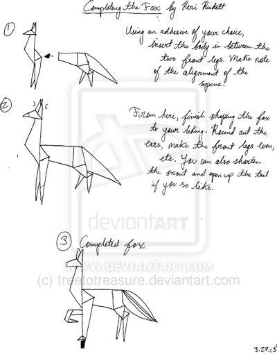 Origami Fox Diagram - origami fox diagram part iii by treetotreasure on deviantart