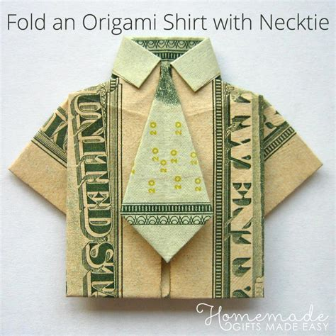 Easy Origami Dollar - money origami shirt and tie folding