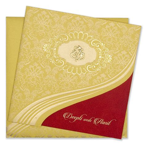 Wedding Invitation Cards Yellow by Traditional Hindu Yellow Golden Wedding Invitation Card