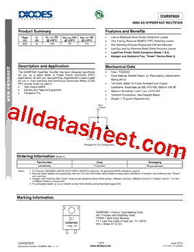 diodes incorporated bcd dsr8f600 datasheet pdf bcd semiconductor manufacturing limited