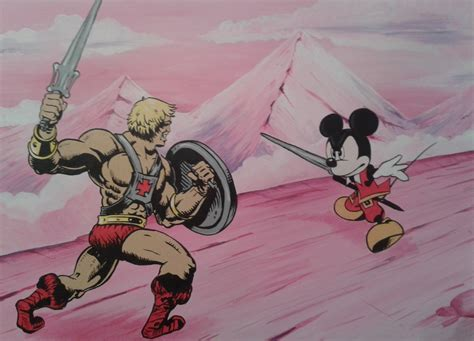 Cartoon Wall Murals he man vs mickey mouse canvas hand painted murals hand