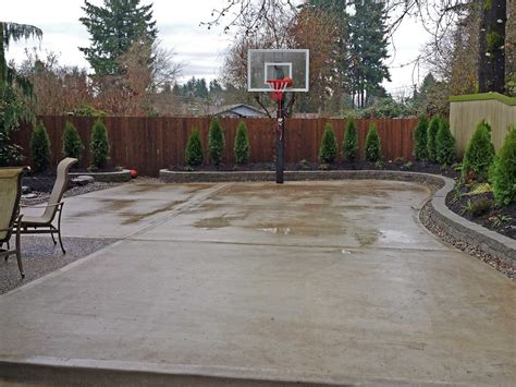 how to cement backyard the concrete slab basketball court is great exercise for