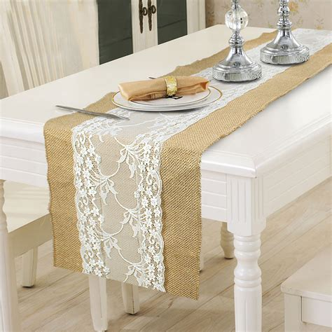 burlap table runner with lace burlap lace hessian table runner wedding tablecloth