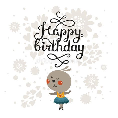 happy birthday animal stak design greeting card with cute rabbit and handdrawn lettering