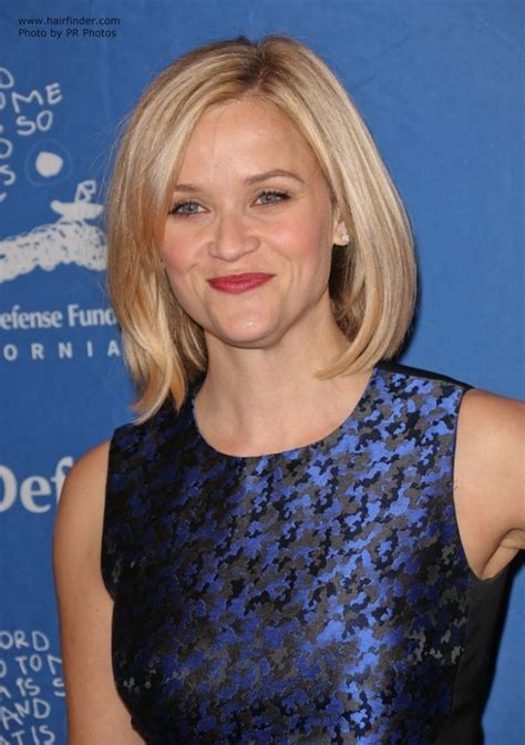 bob with beveled ends reese witherspoon blonde hair in a longer bob with side