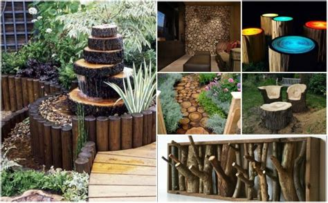 diy garden decor ideas fab diy rustic log decorating ideas for home and garden
