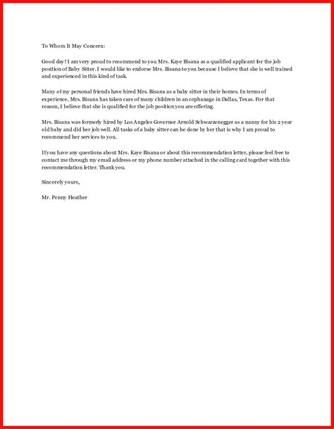 babysitter reference letter choice image letter format
