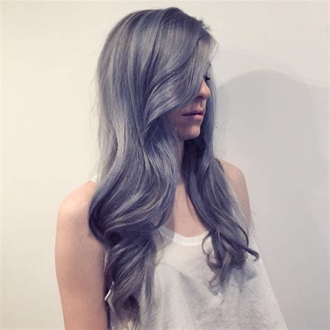 graying blue hair stunning silver hair colors ideas