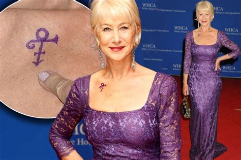 helen mirren tattoo helen mirren pays tribute to prince as she shows