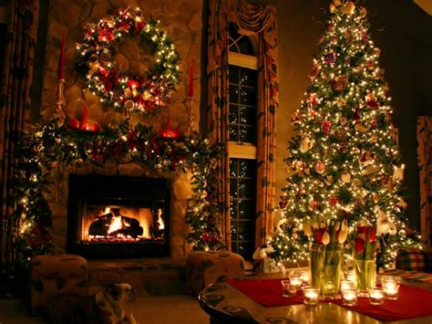 Christmas tree and fireplace catavino