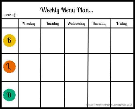 menu chart template top diet foods healthy menu plan