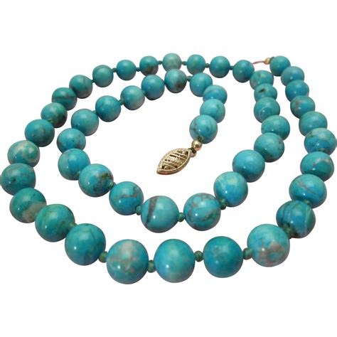 natural turquoise natural turquoise necklace 14k gold 8 mm beads vintage