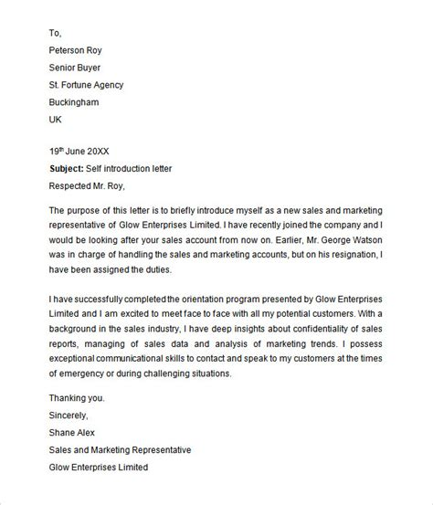 Self Introduction Letter Exles Introduction Letter 29 Free Documents In Pdf Word