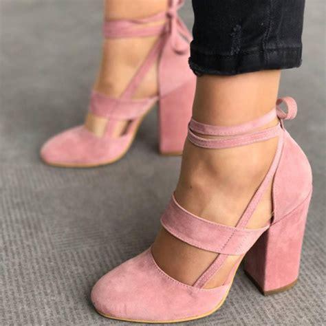 thick in high heels 2017 heels suede straps thick high heeled shoes
