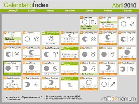 Calendario Astrologico Calendario Lunar Astrologico Abril 2010