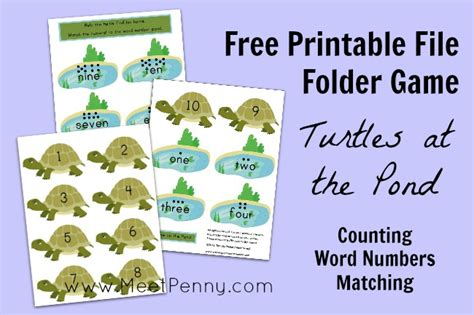 printable file folder games for kindergarten turtles at the pond file folder game meet penny