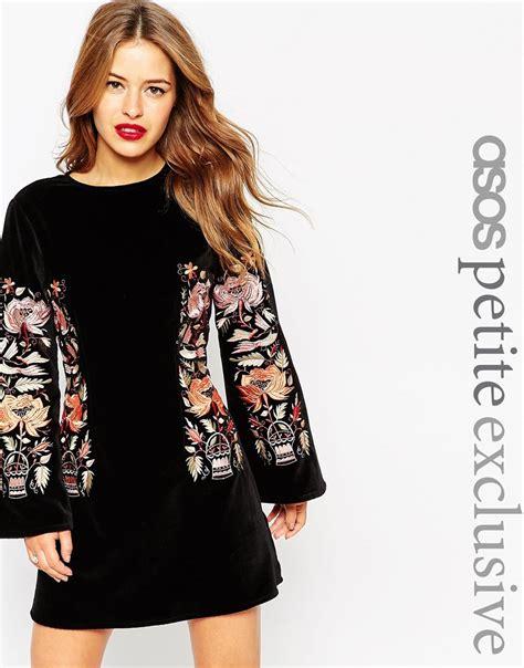 Sleeve Velvet A Line Dress lyst asos premium velvet embroidered a line dress