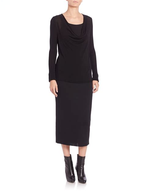 eileen fisher icon wool pencil skirt in black lyst