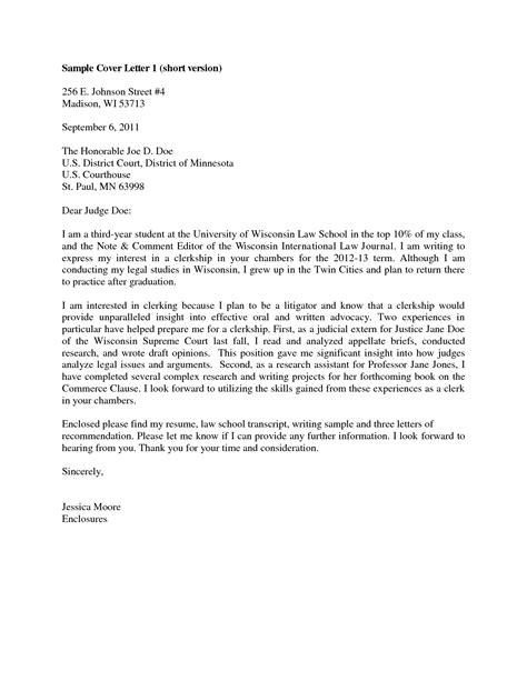 sle judicial clerkship cover letter the letter sle