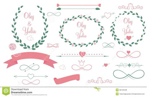 Wedding Graphic by Set Of Wedding Graphic Elements With Arrows Stock Vector
