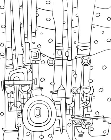painting coloring blue blues by friedensreich hundertwasser coloring page