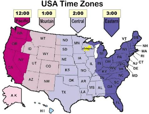 map of usa showing states and timezones usa state time zone map
