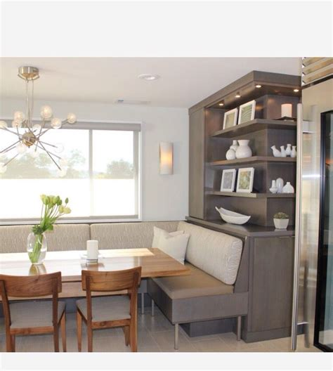banquette  built  shelving dining room combo