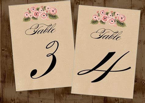 free printable table numbers 1 10 kraft rustic pretty floral table numbers for wedding