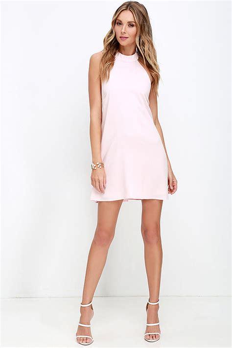 light pink halter dress chic light pink dress halter dress trapeze dress 58 00