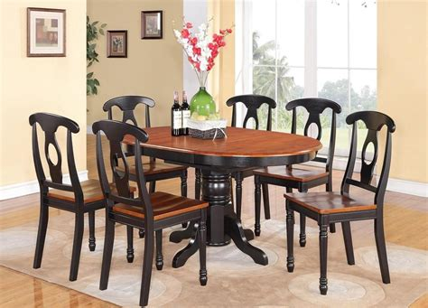 Kitchen Dining Table Set 5 Pc Oval Dinette Kitchen Dining Set Table W 4 Wood Seat Chair In Black Cherry Ebay