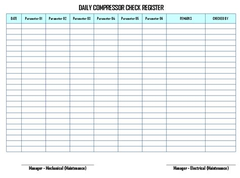 daily checks index card template daily compressor inspection and records